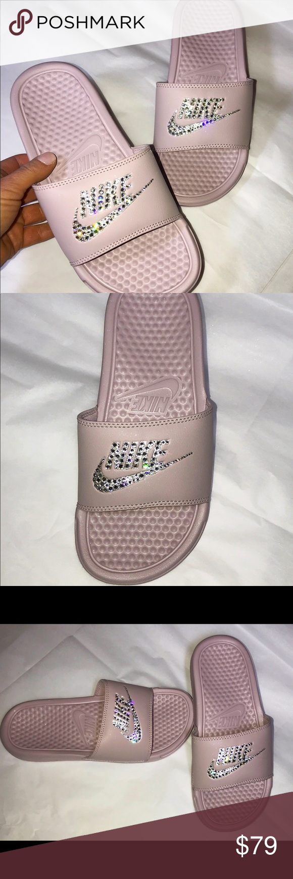 Nike Benassi slides in Nude Pink Swarovski detail Nike Benassi JDI slides  size 6 in Rose Metallic Silver with hand placed Swarovski crystals in clear. 6cf49a140010