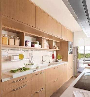 Resultado de imagen para muebles de cocina revestidos color madera - muebles para cocina de madera
