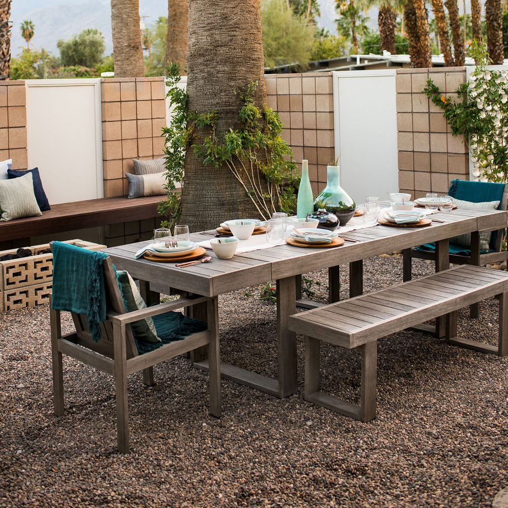 Portside Outdoor Expandable Dining Table Weathered Gray Outdoor Kitchen Design Rustic Outdoor Furniture Expandable Dining Table