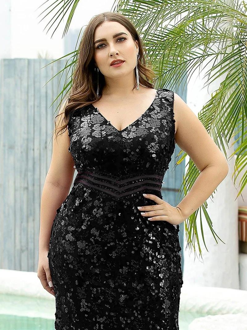 Maxi Long V Neck Mermaid Sequin Prom Dresses for Women ...