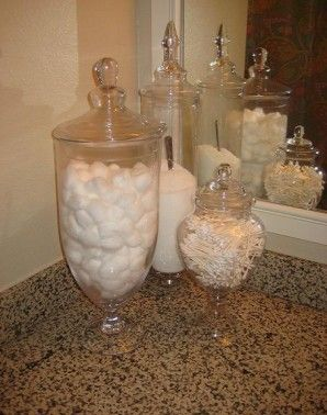 Merveilleux Storage Ideas  I Have Qtips, Cotton Balls, Bath Salts, Mini Lotions, Etc In  Clear Glass Containers In My Guest Bathrooms So Guests Have What They Need  And ...