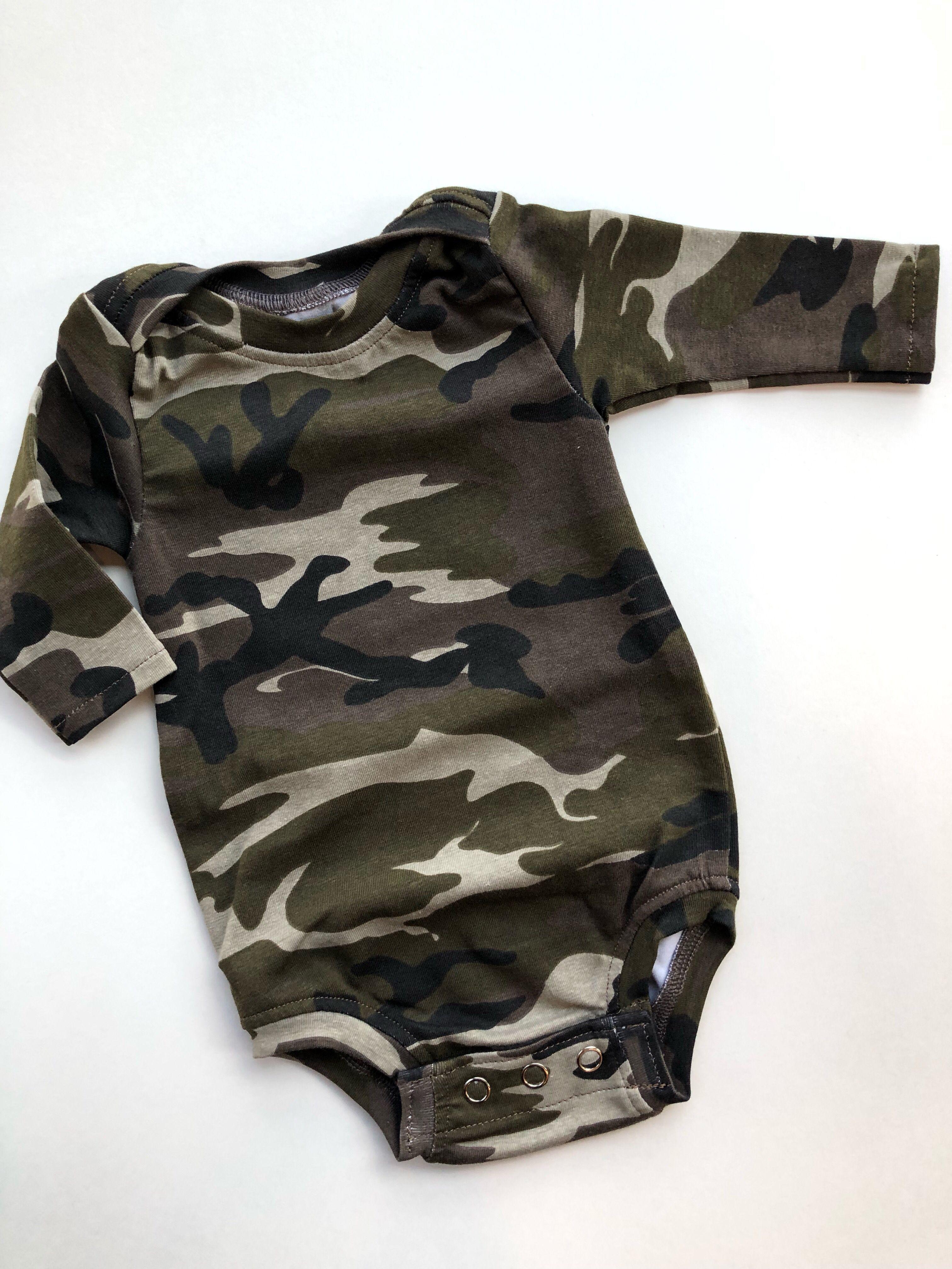 Camo baby bodysuit,baby boy clothes,camo baby clothes | Etsy #boydollsincamo