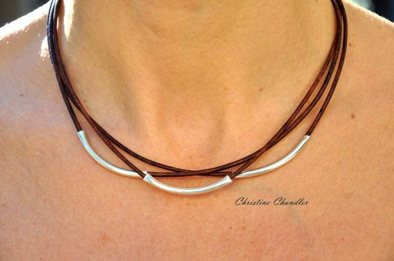Photo of Leather Necklace – Christine Chandler – Leather and Sterling Silver Necklace – 3 Strand Leather Necklace – Leather Jewelry – Sterling Silver
