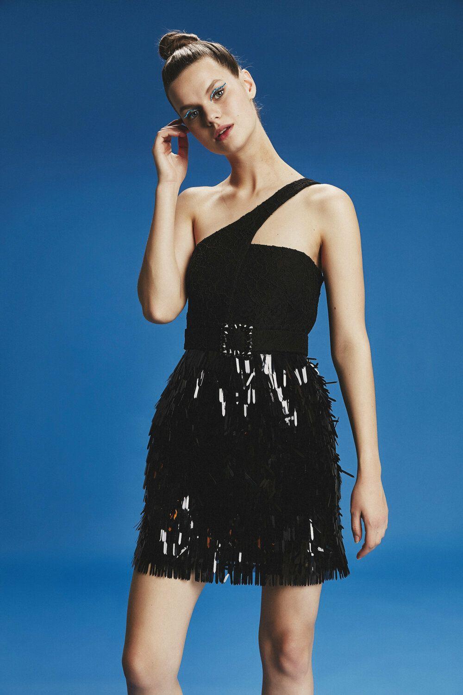 mini kleid ,pailletten & spitzendetails | schwarze