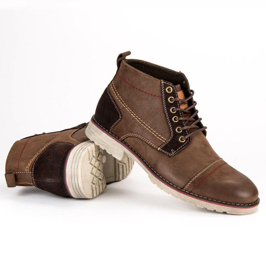 Trekkingowe Meskie Originalwalkmanshoes Original Walkman Shoes Brazowe Wiazane Botki Ze Skory Desert Boots Boots Men Shoes