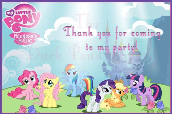 Customized My Little Pony Thank You Card Birthdays Stationery My Little Pony Coloring My Little Pony Wallpaper Little Pony