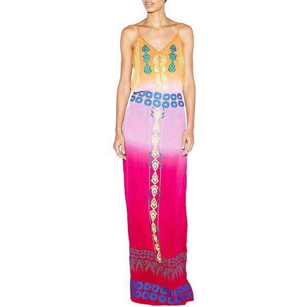 Nicole Miller Artelier Sleeveless Tribal-Embroidered Maxi Dress (2,750 EGP) ❤ liked on Polyvore