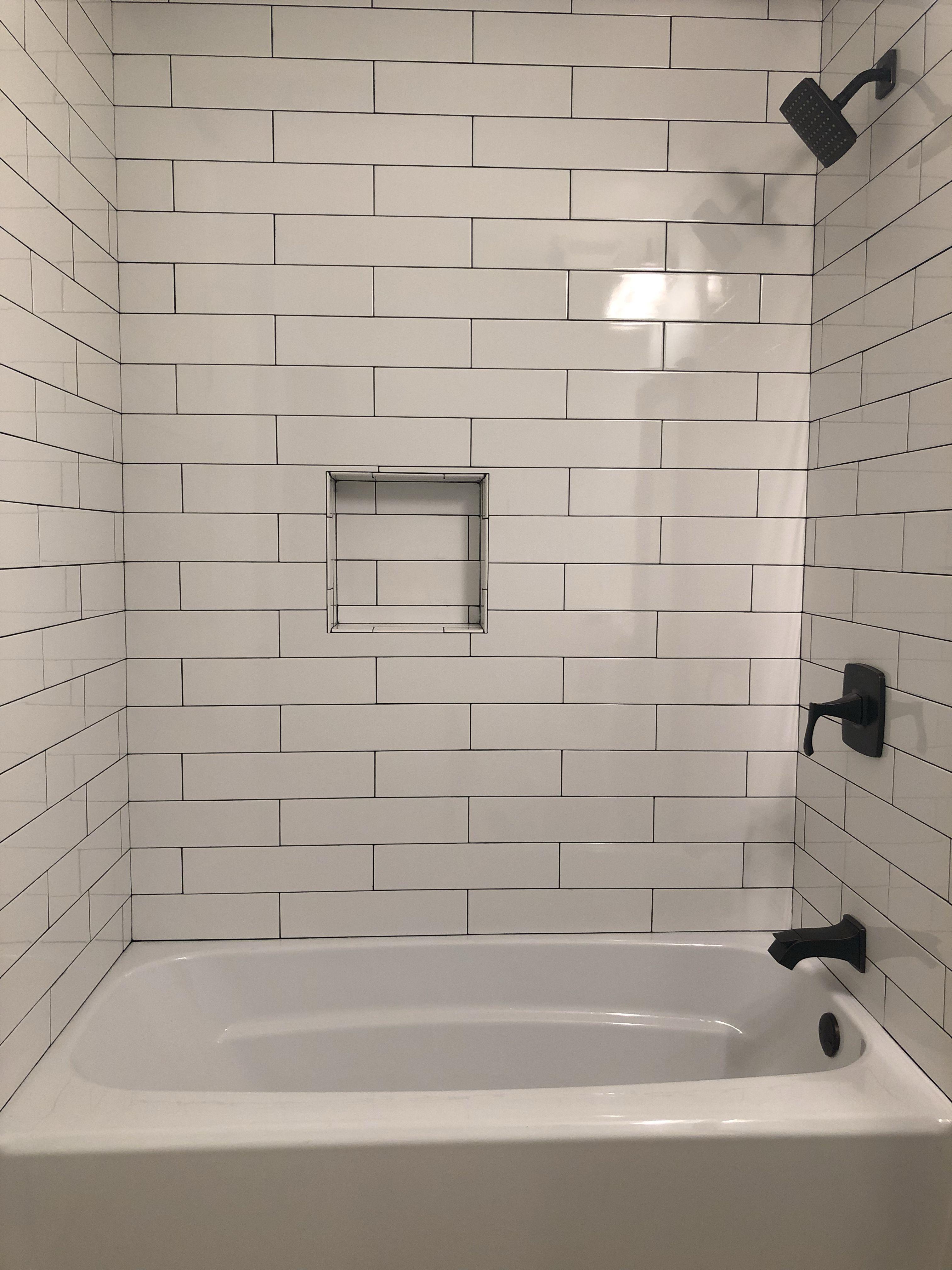 White Subway Tile Dark Grout Dark Fixtures Home Depot