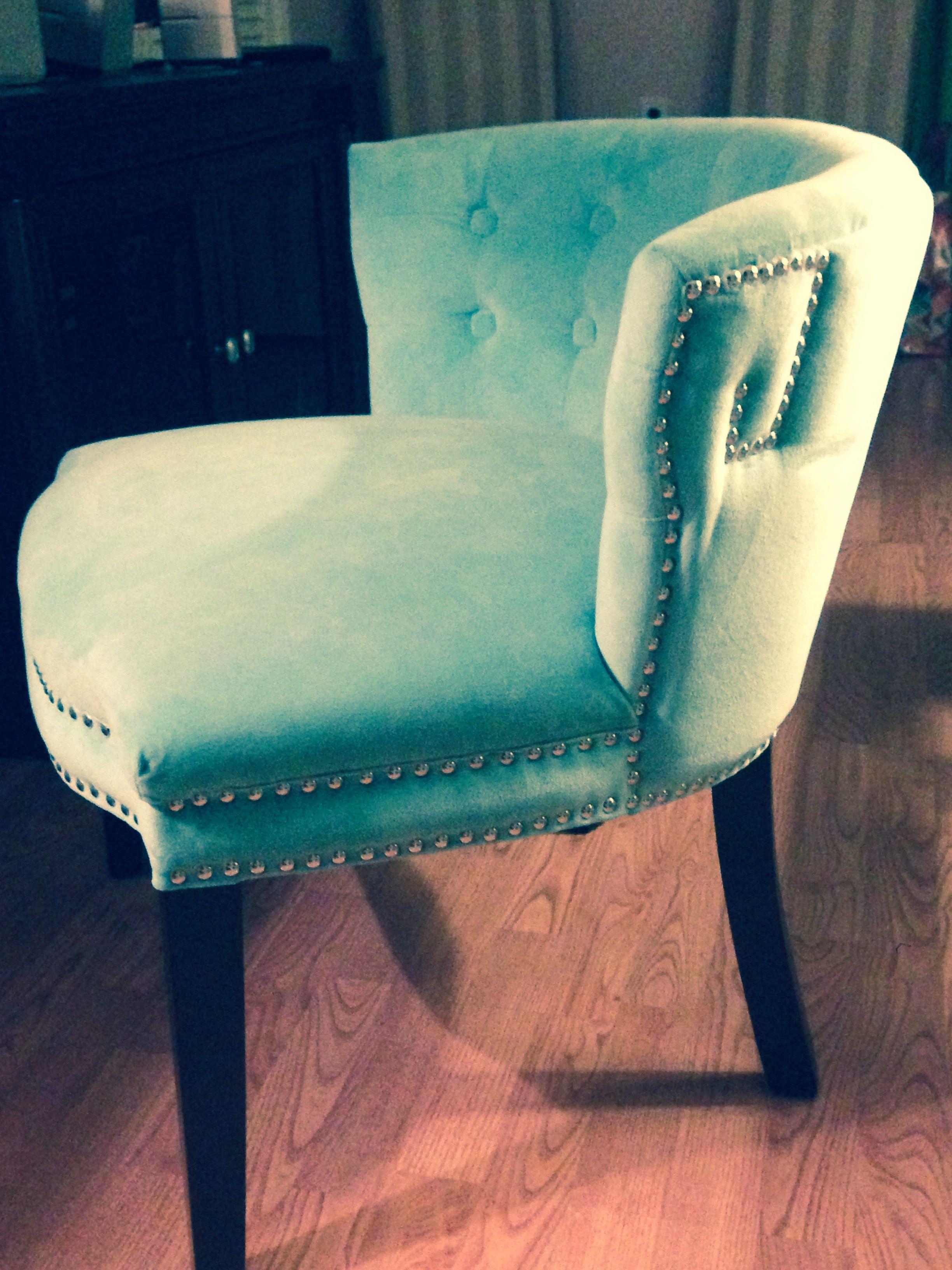 Cynthia Rowley tufted aqua velvet slipper chair with nail ...