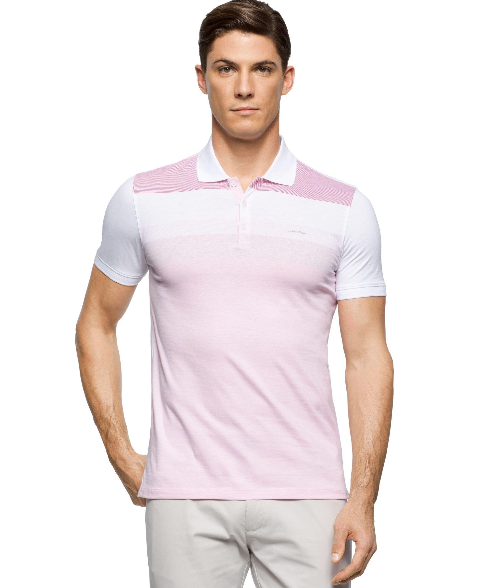 Calvin Klein Colorblocked Liquid Cotton Polo Shirt Polos