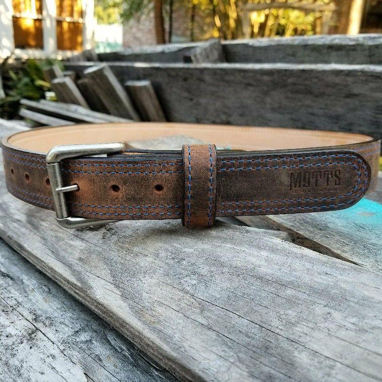Awww Yeah! Who's getting a new belt soon? Mottsleatherdesigns.com #doyouevenmotts #mottsleatherdesigns #exoticleather #waterbuffalo #crazyhorse #gunbelt #heavyduty #rustic #concealedcarrynation #handcrafted