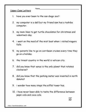 Capital Letter Worksheets Capital Letters Worksheet Letter Worksheets Punctuation Worksheets Punctuation worksheets for preschoolers
