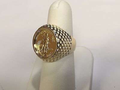 14k Gold Mens 21mm Coin Ring With A 22k 1 10 Oz American Eagle Coin Coin Ring Eagle Coin Women Rings