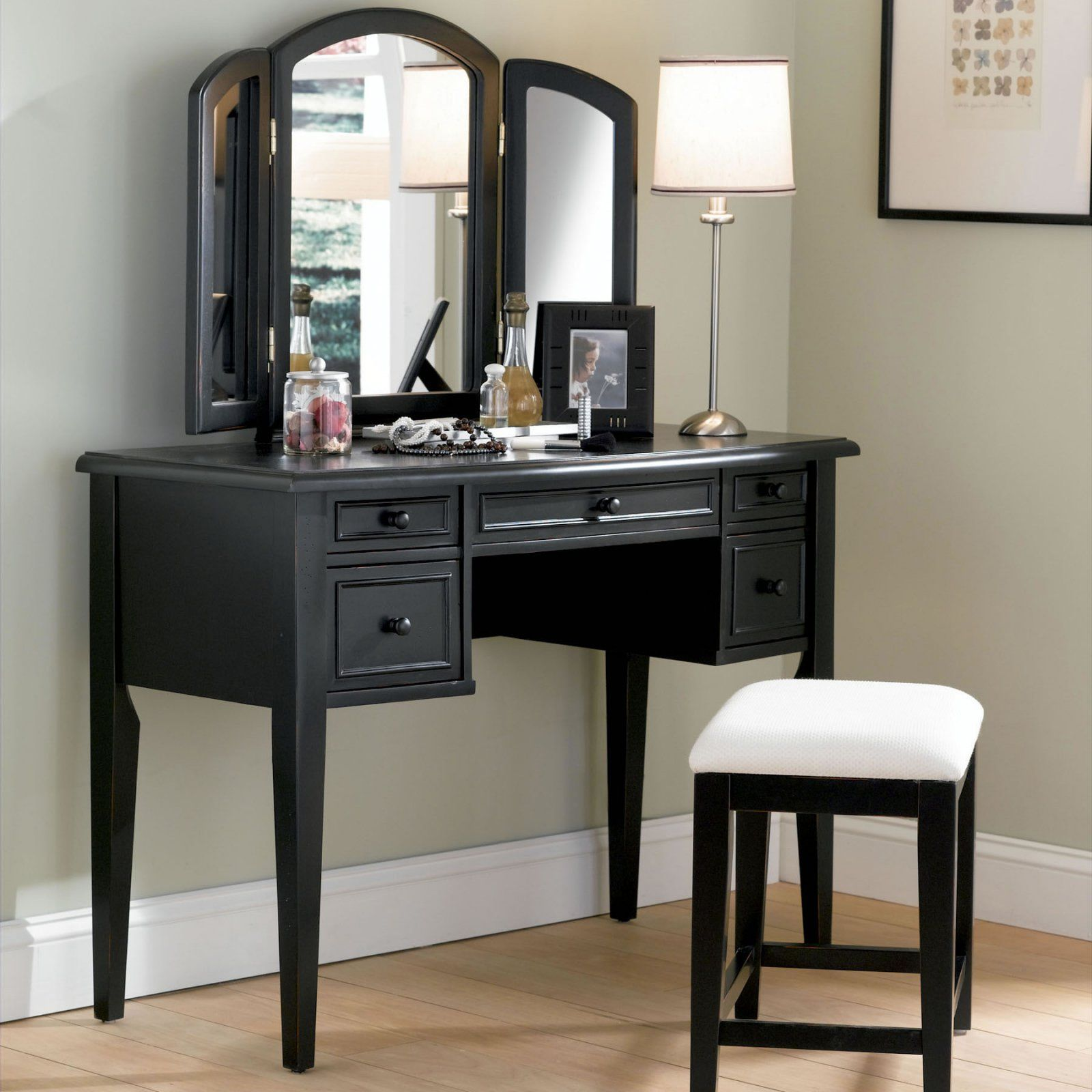 Powell Boulevard Antique Black Bedroom Vanity Set Bedroom Vanity
