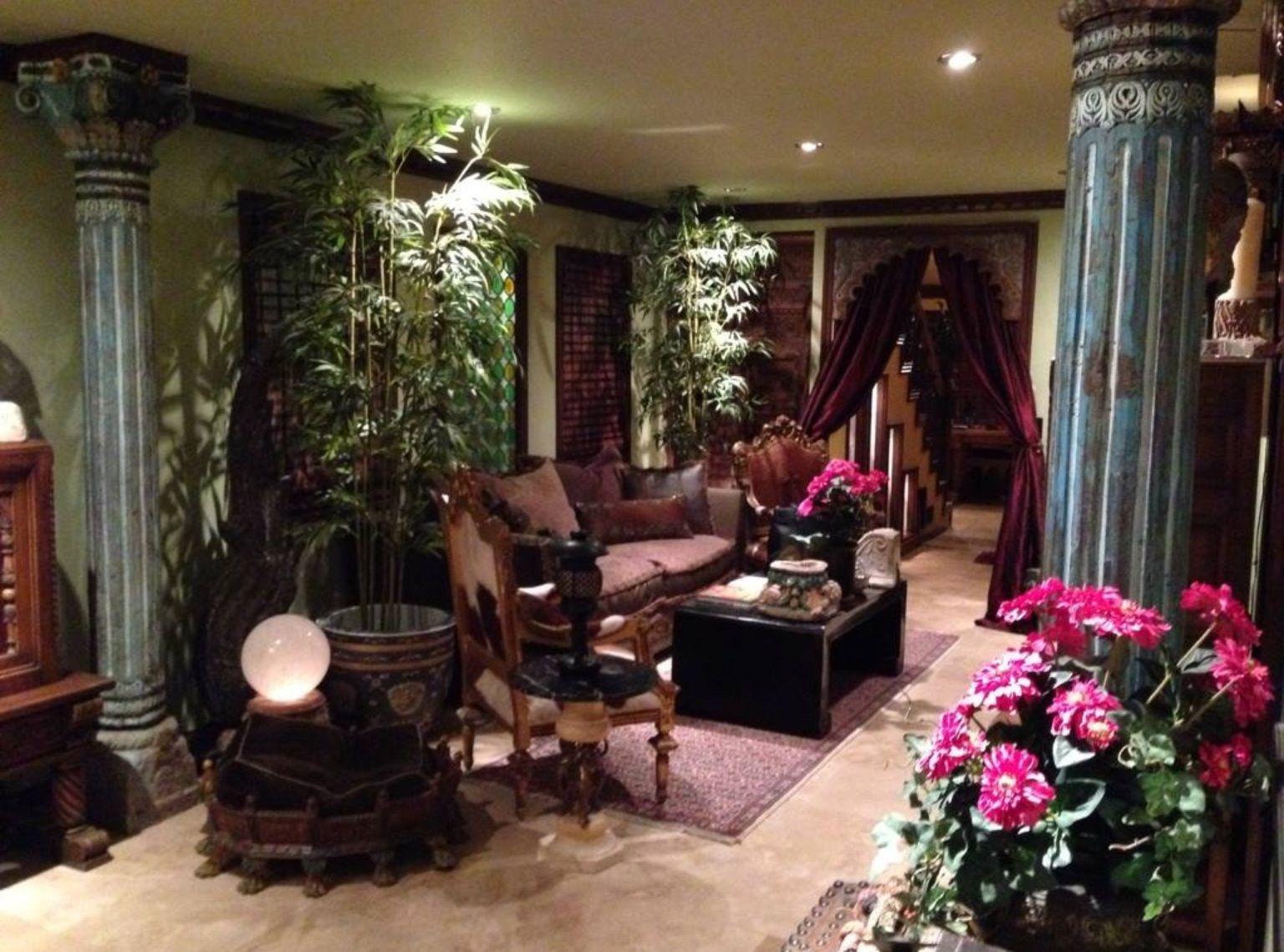 Portland remodel living room 18th c Indian columns travertine