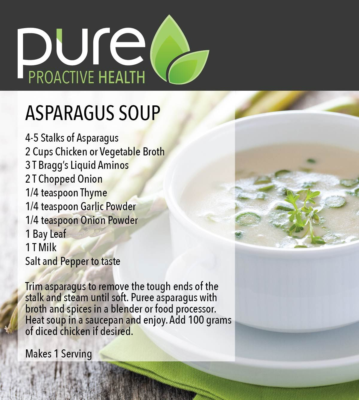 Asparagus Soup Level One Pure Proactive Health Soup Workout Food Recipes