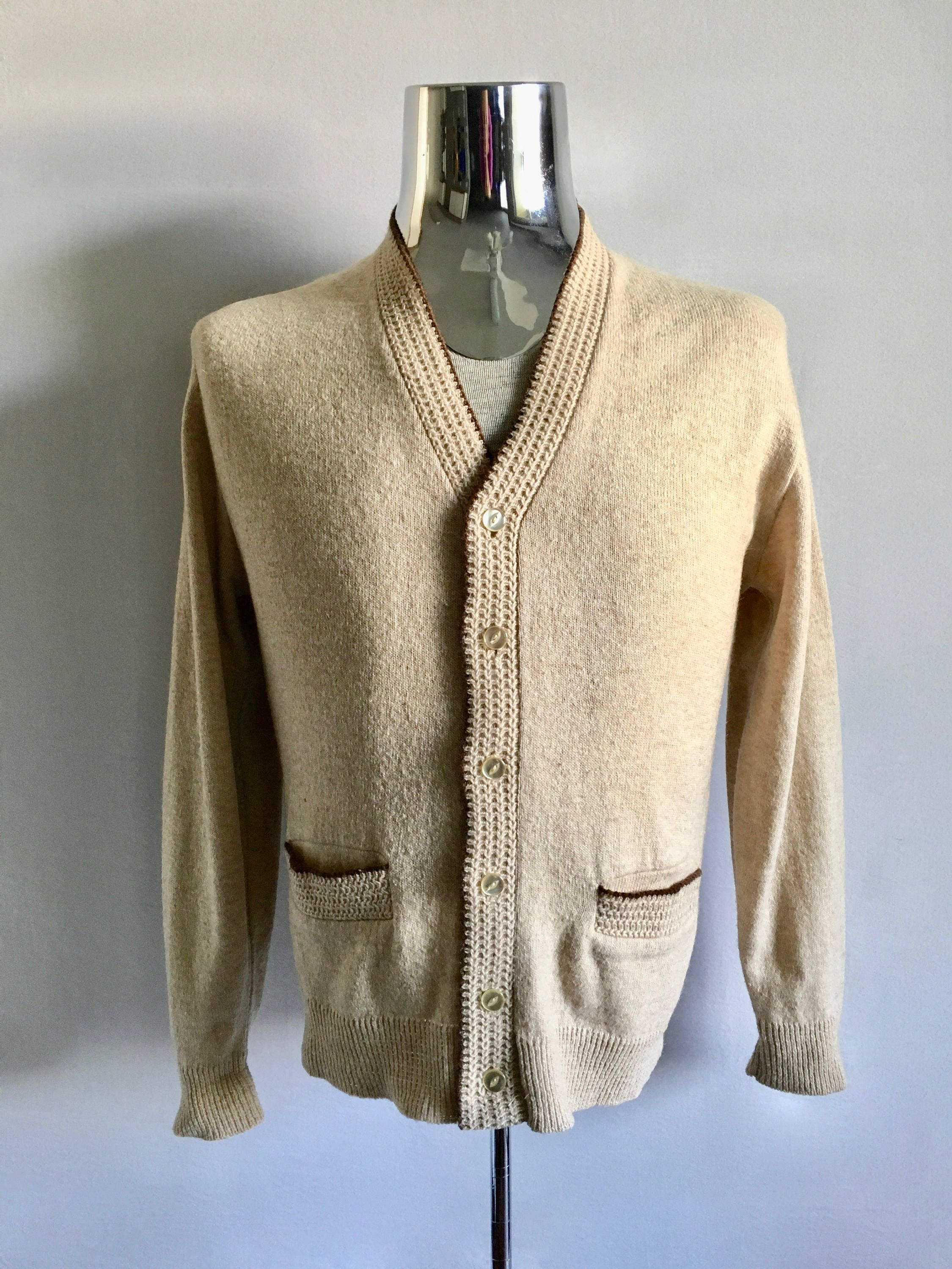 Vintage Men's 60's Wool Blend, Cardigan Sweater, Cream, Long ...
