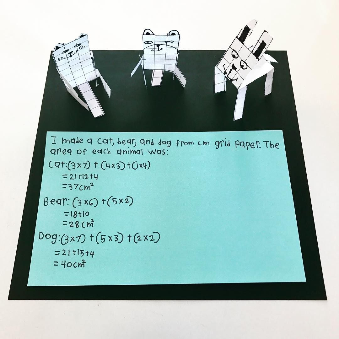 Area: making animals from cm grid paper. | 3rd Grade Math ...