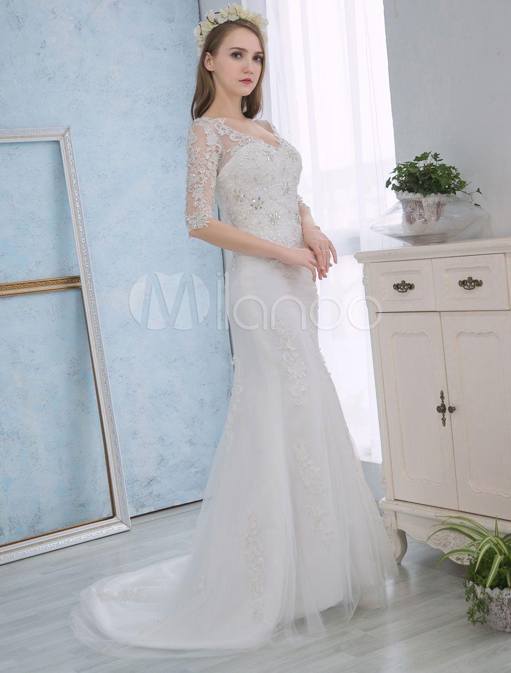 Mermaid Wedding Dresses Lace Half Sleeve Bridal Dress Backless