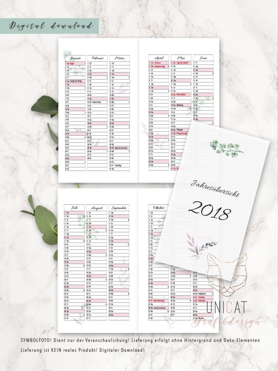 Jahresübersicht 2018 für Filofax Personal | Pinterest | Filofax ...