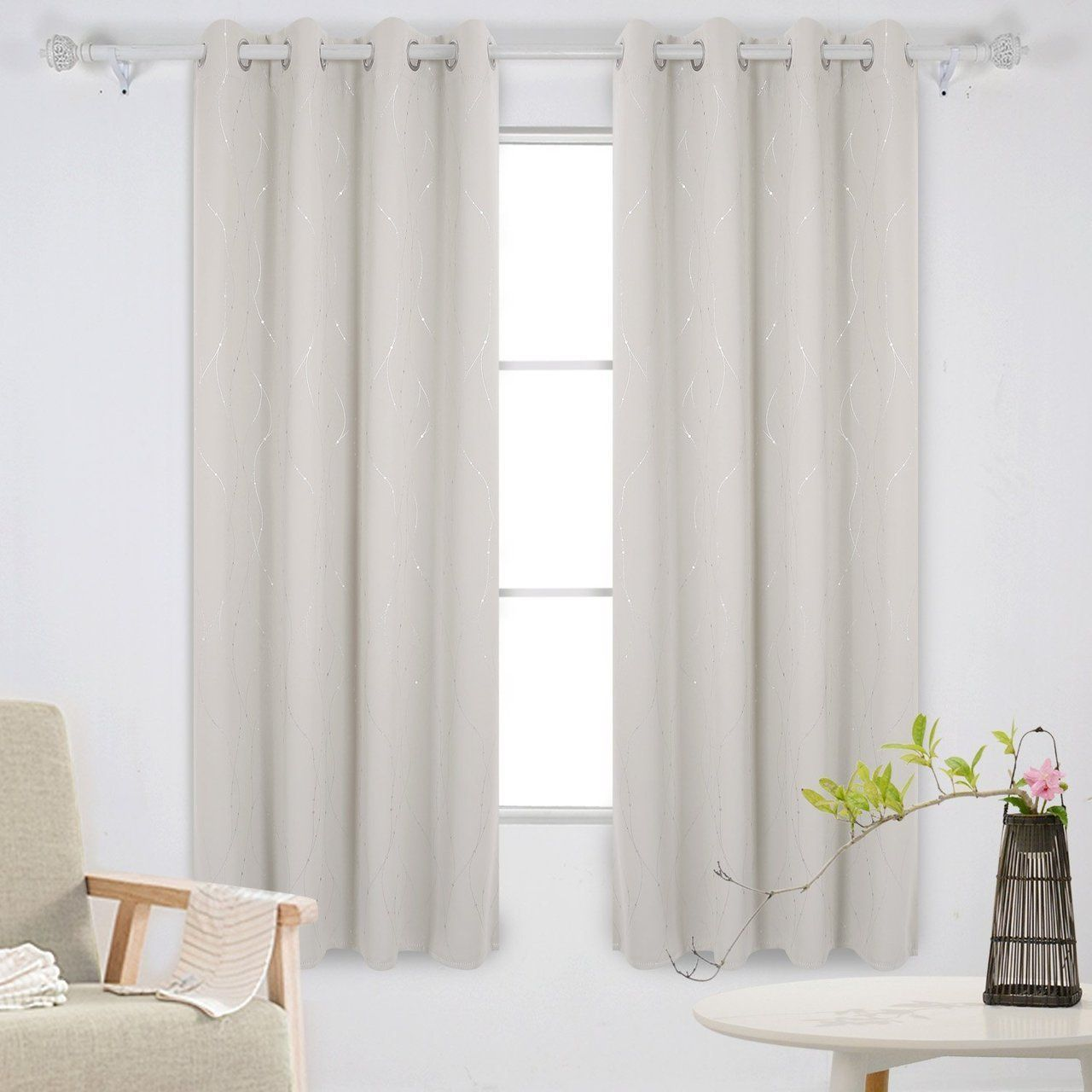 Creative window coverings  blackout curtains and drapes wave line with dots printed window