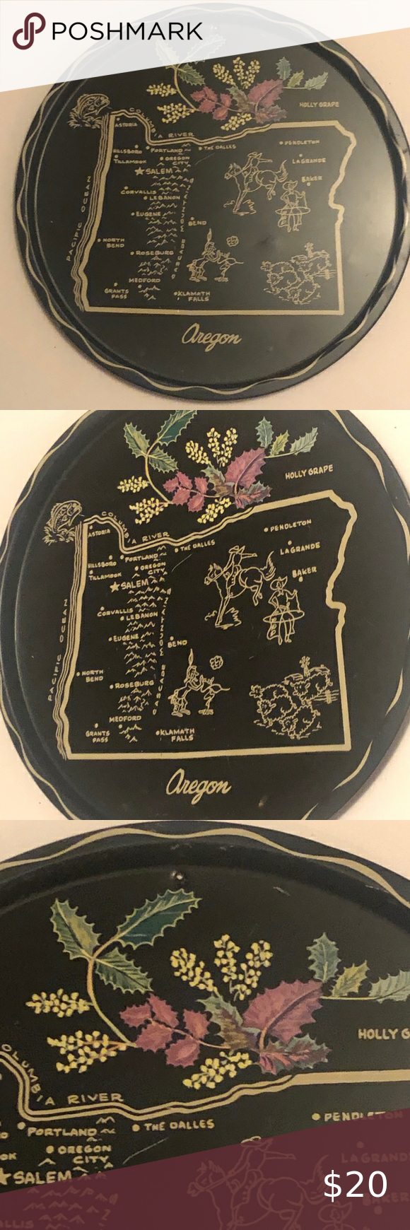 Antique Oregon Map Plate in 2020 Oregon map, Moving to