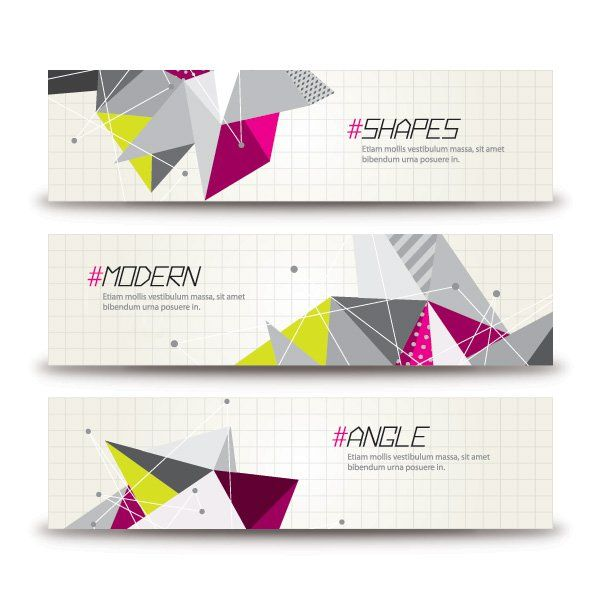 triangular banners vector graphic cutting edge futuristic decoration promotion geometric abstract triangle angular modern angle
