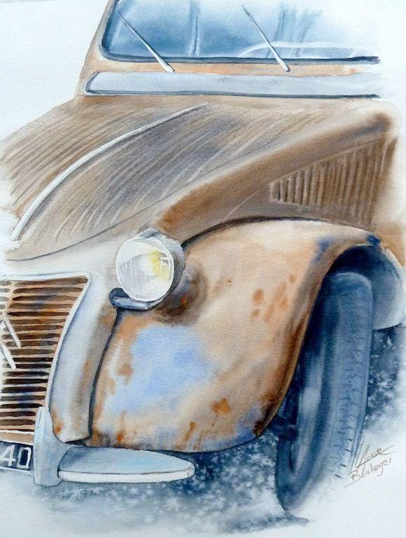 2cv Yves40x502 Dessin Voiture Peintures Vintage Peinture Auto