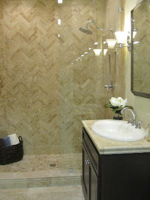 The Tile Shop Travertine Herringbone Shower Accent Wall