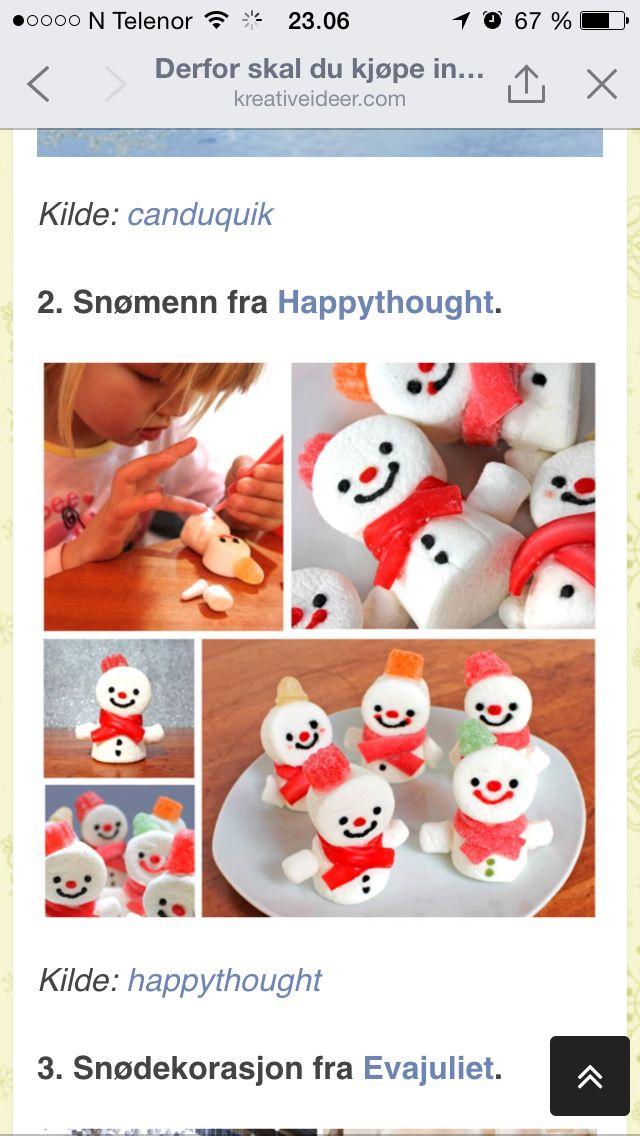 Snømenn av marshmallows