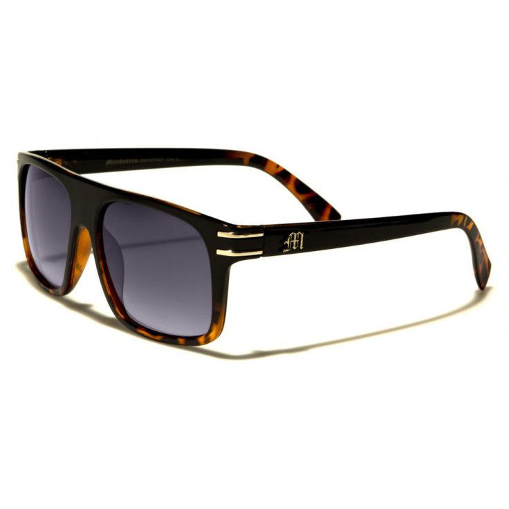 Manhattan Mens Wayfarer Sunglasses Black and Brown with Gray Lenses ...