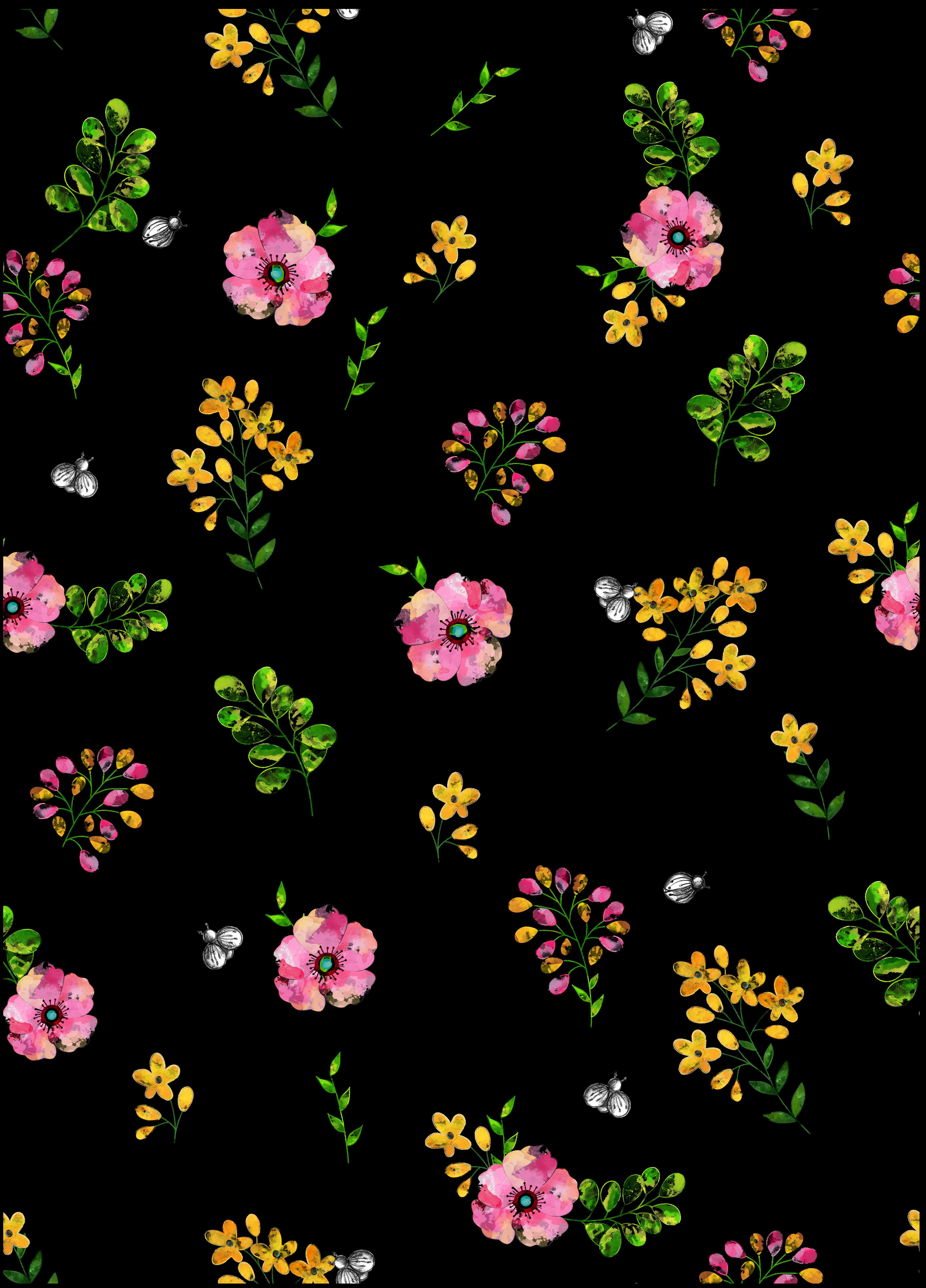 Black Background With Floral Pattern Floral Wallpaper Floral