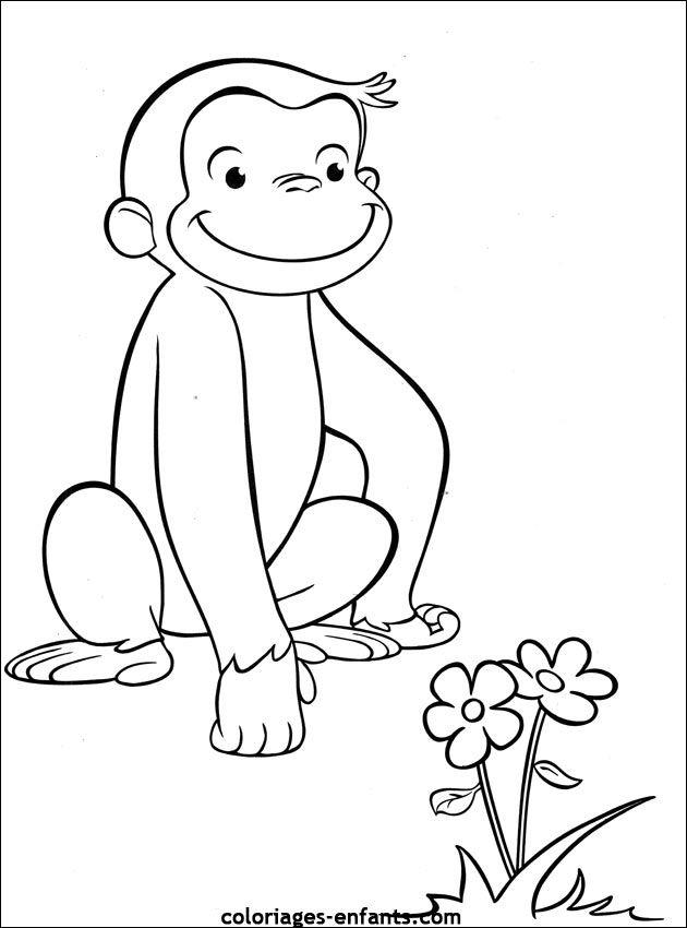 Coloriage Singe A Colorier Dessin A Imprimer Curious George Coloring Pages Monkey Coloring Pages Cartoon Coloring Pages