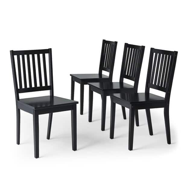 Simple Living Slat Black Rubberwood Dining Chairs Set Of 4 Chair And