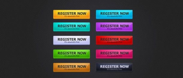 Registration button is one of the most useful button for a website here is a new set of 10 shiny gel type registration button PSD file. The design and textures are create in a single layer so easy to change the style of the button.