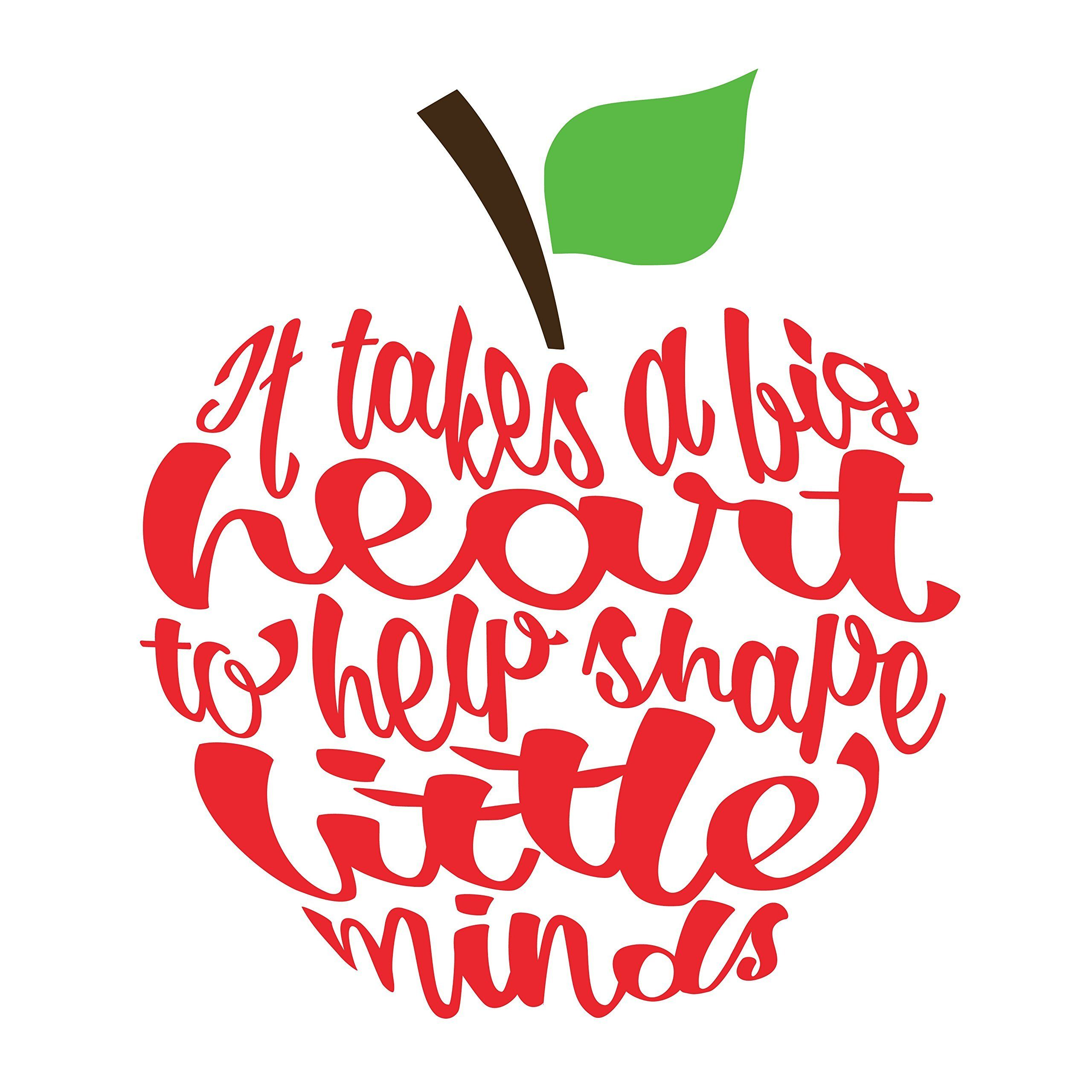 Set Of 4 It Takes A Big Heart Apple Decal 2 8 X 2 5 Teacher Appreciation Week Vinyl Ornaments Big Heart