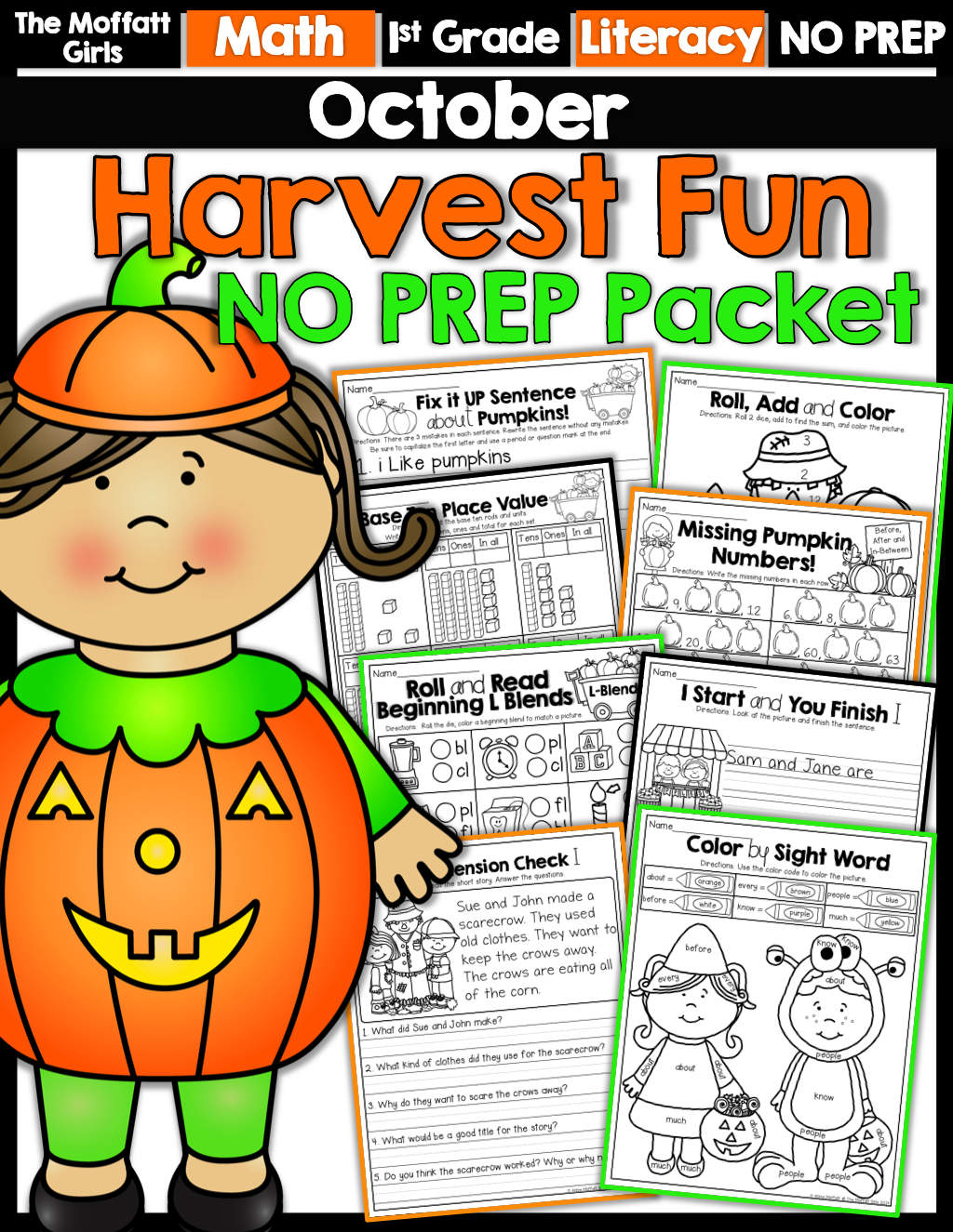 October No Prep Math And Literacy Packet 1st Grade