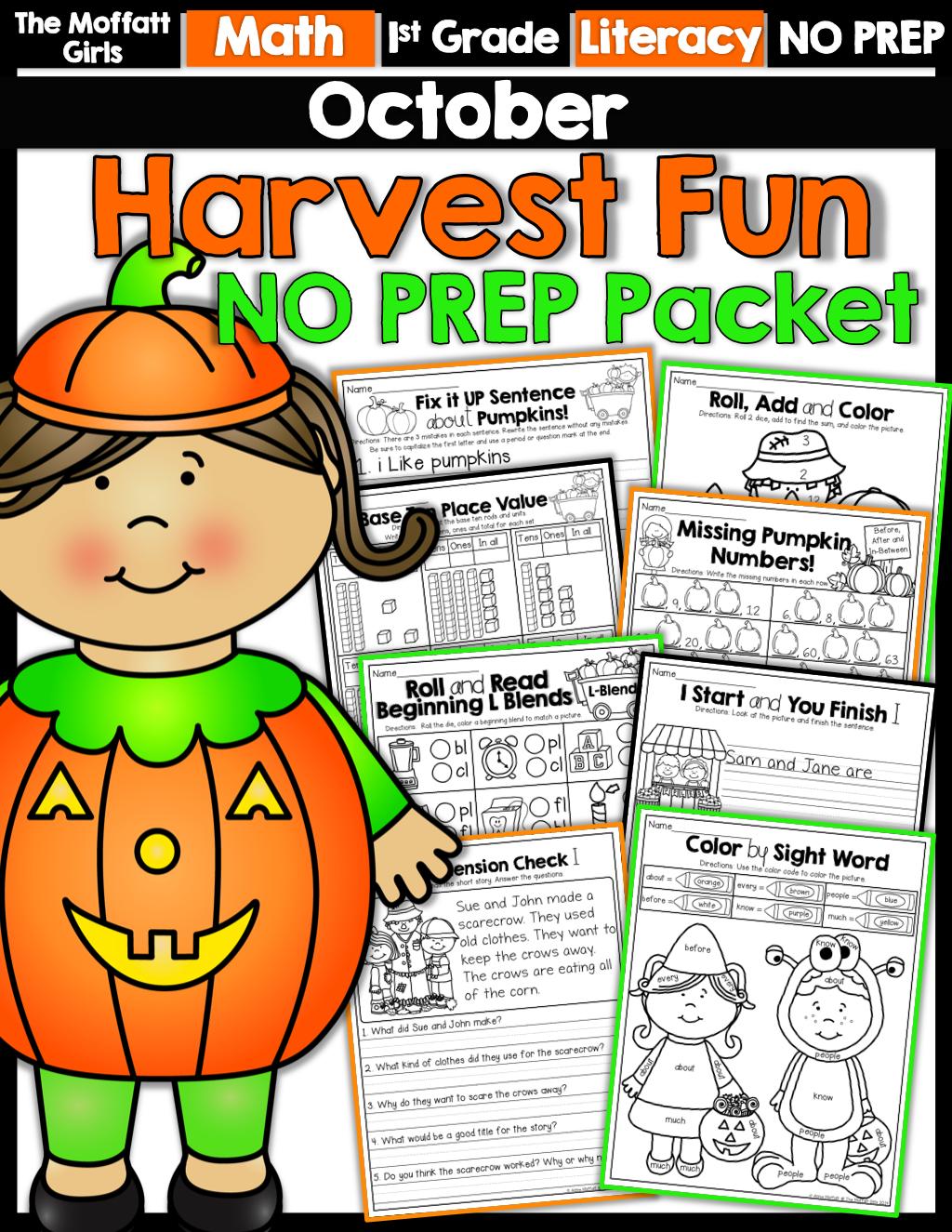 October No Prep Math And Literacy Packet 1st Grade