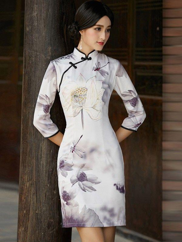 05e20f56fc99 Half Sleeve Qipao / Cheongsam Dress with Lotus Print - CozyLadyWear ...