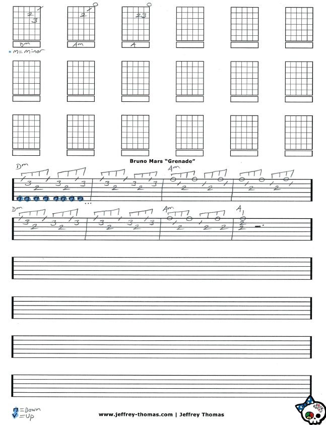 Hi I Am Creating Guitar Tab For Grenade By Mr Mars I Hope You