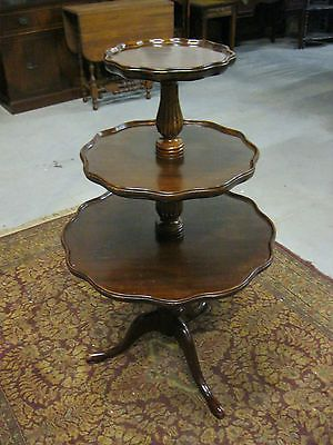 Pie Crust Tables Solid Mahogany 3 Tier Pie Crust
