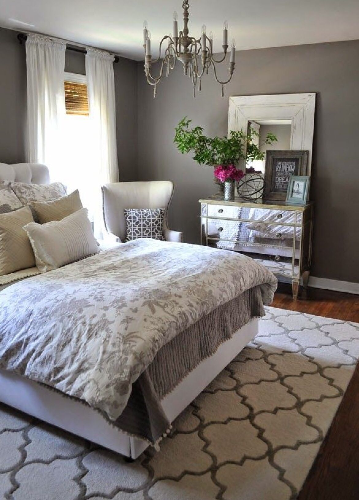 Pretty gray bedroom different angle Love the