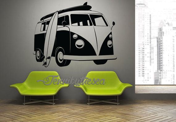Vintage Vw Surf Bus Wall Art Decal Surfing Home Decor Decal Wall Art Vintage Vw Wall Art