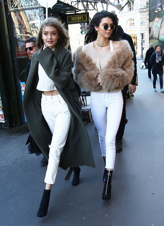 a807df2b53b Kendall Jenner and Gigi Hadid Wore Matching Outfits in Paris via   WhoWhatWearUK