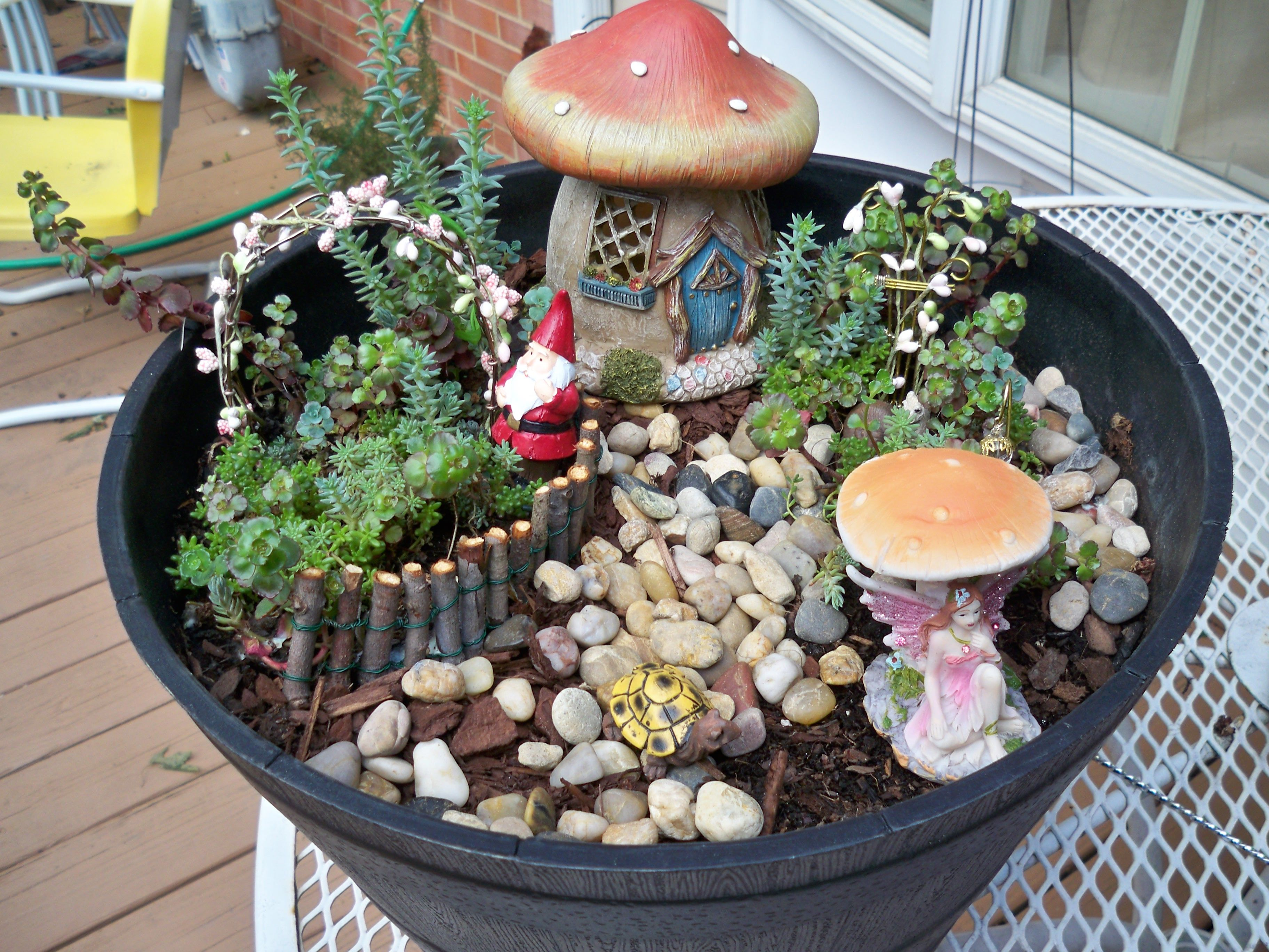 My First Fairy Garden Items From Dollar Store And JoAnns. Fence Was Hand  Made As