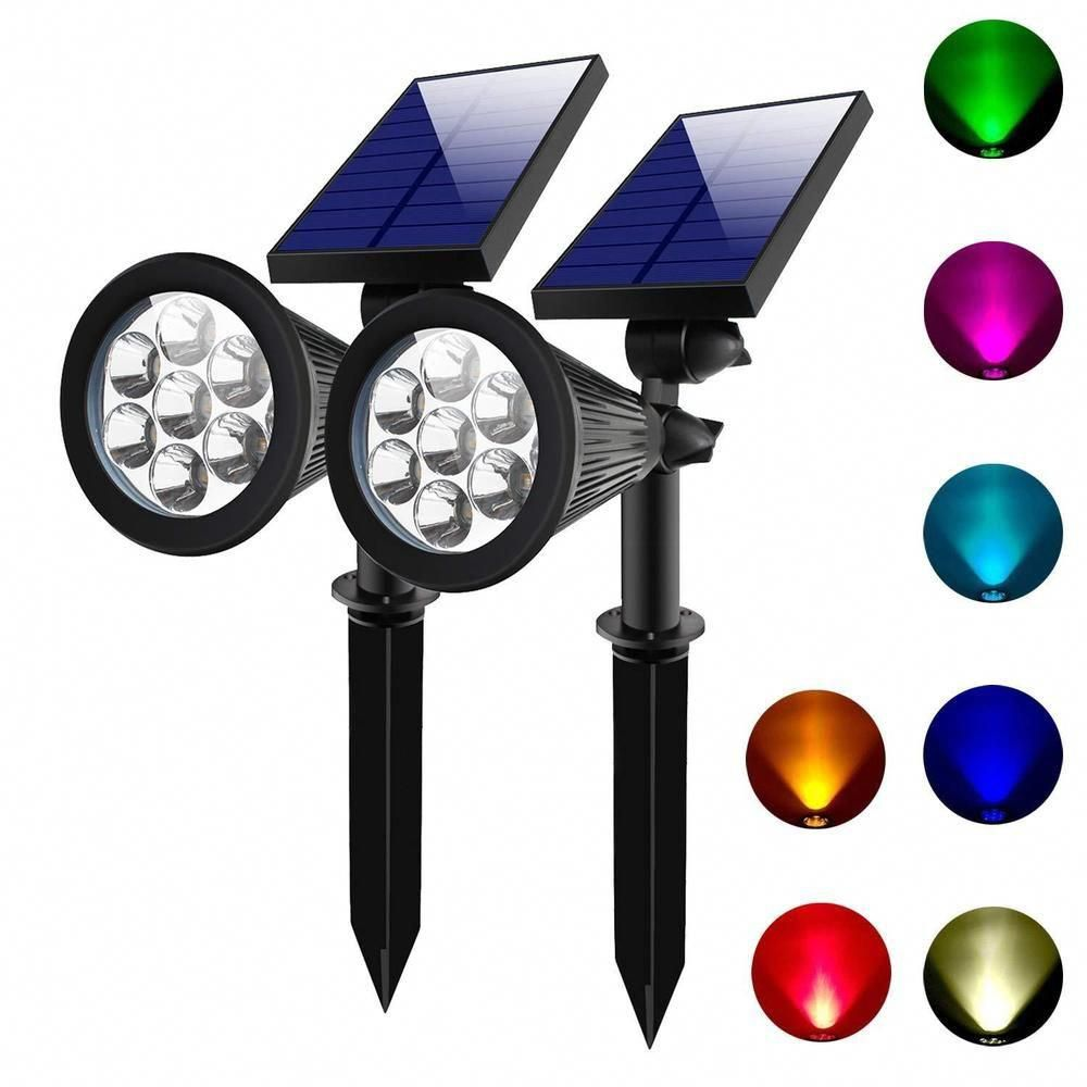 Icymi 2x Outdoor Solar 7 Color Changing Led Spot Light Garden