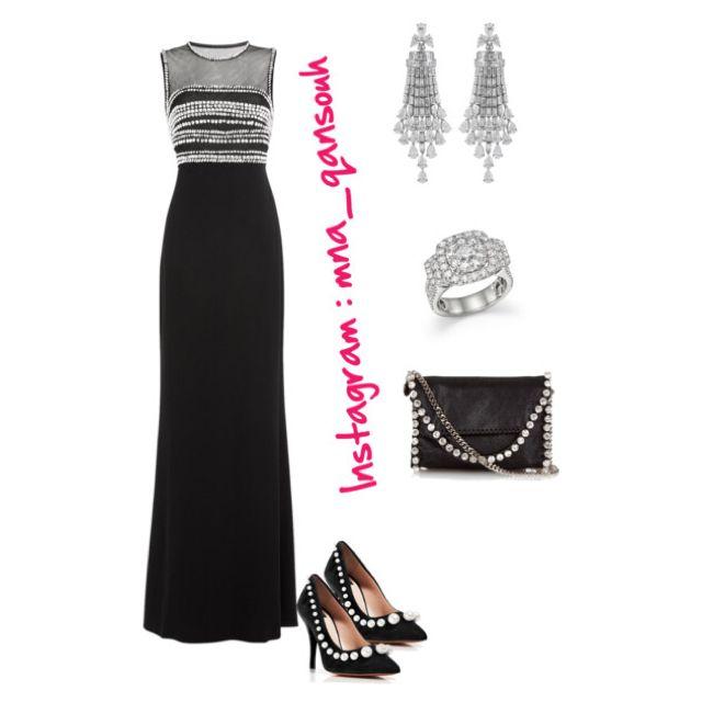 Dress black pearl classy