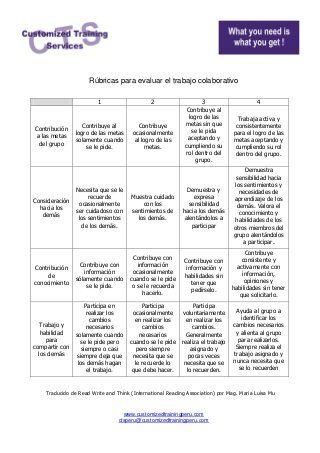 Rubricas para evaluar el trabajo colaborativo   trabajo colaborativo ...