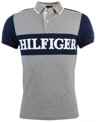 Polo Tommy Hilfiger Men's Custom Fit Logo Polo Shirt Gray Navy #Tommy Hilfiger#Polo