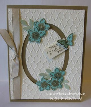Petite Petals, Petite Pairs and Papillon Potpourri stamp sets. Petite Petals, Bitty Butterfly, and Bird punches. Fancy Fan EF, Ovals Collection Framelits, Very Vanilla and Baked Brown Sugar CS.